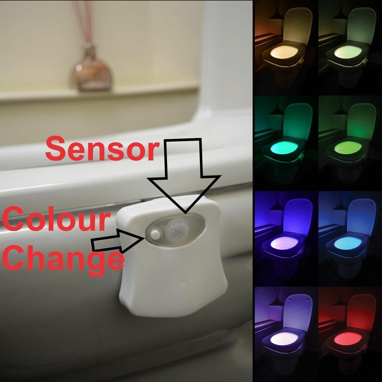 WC Salle De Bain Lumière Nuit PIR Motion Activated Siège Capteur 8 Color Changing