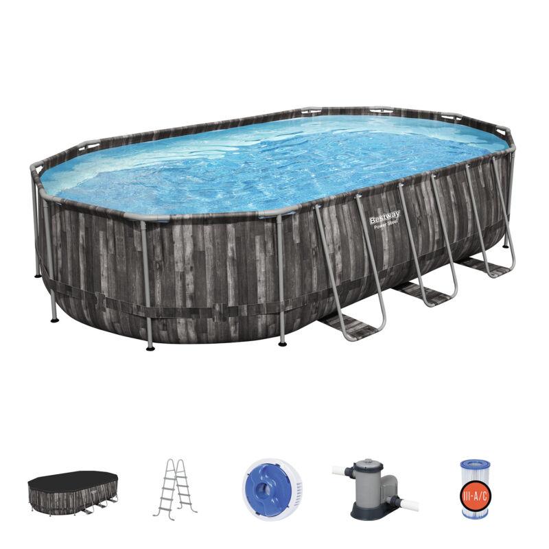 Bestway Power Steel 20 x 12 x 4 Foot Above Ground Oval Pool Set w/ Accessory Kit