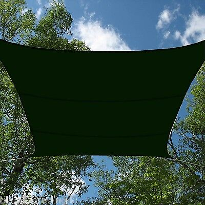 FOREST GREEN MESH SUN SHADE SAIL CANOPY COVER 12x12 FT SQUARE UV BLOCKING