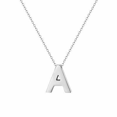 Women's A-Z Alphabet Initial Necklace Polished Silver Tone Letter Pendant Gift