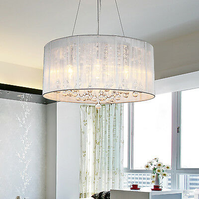 WHITE DRUM SHADE CRYSTAL CEILING CHANDELIER PENDANT ...