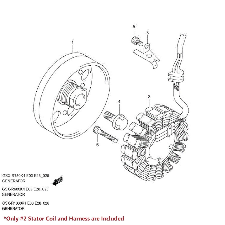 Details about 00-05 GSXR 750/600/1000 MAGNETO COIL STATOR+VOLTAGE REGULATOR on