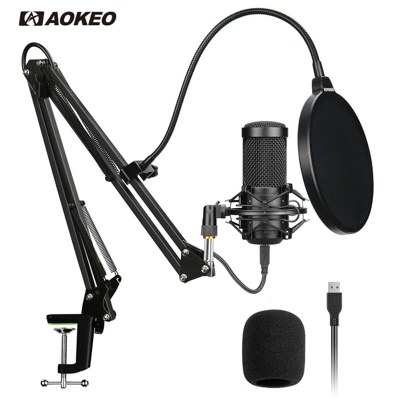 USB Condenser Microphone Studio Audio Recording Arm Stand Sh