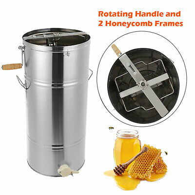 Manual Stainless Steel Bee Honey Extractor Two 2 Frame Honeycomb Large Drum New