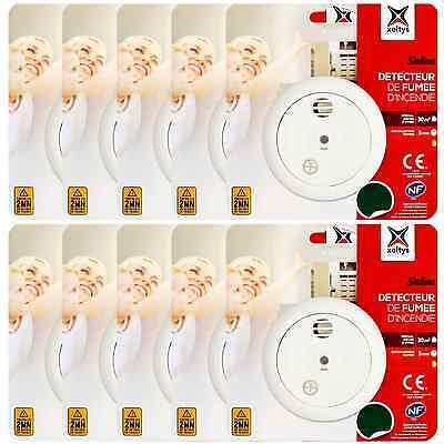 10 Stück Rauchmelder Batterie 9V Feuermelder Rauchwarnmelder Alarm Melder