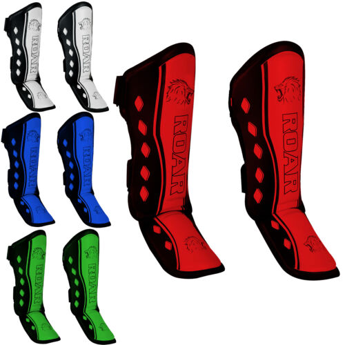 ROAR SHIN INSTEP FOOT PADS GUARD MUAY THAI LEG PROTECTIVE GEAR