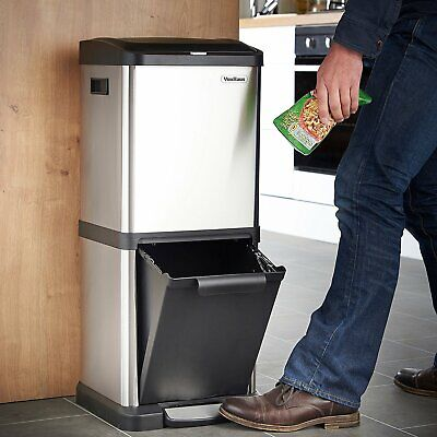 Recycling Pedal Bins - Recycling Bin Pedal Function Kitchen Waste 34L Rubbish Capacity Double Body