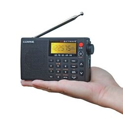 Portable Shortwave Radio Skywave AM FM Weather Airband Travel Clock Alarm Small