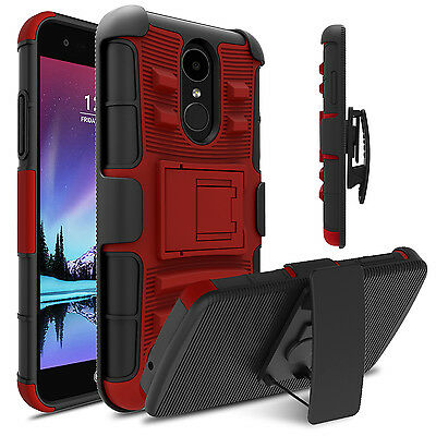 Shockproof Hybrid Holster Kickstand Case Cover For LG Phoenix 3/Fortune/ Rebel 2
