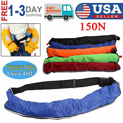adult manual inflatable belt life jacket boating