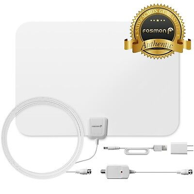 Fosmon [60 Mile] Thin Flat Indoor HDTV Amplified HD TV Antenna 16FT Coax White