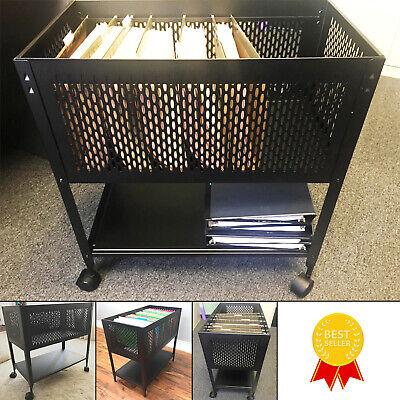 Hanging File Folder Cart Wheels Metal Rolling File With Shelf Organizer Holder
