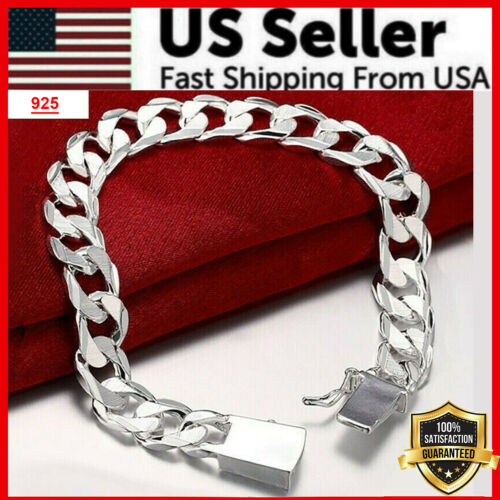 925 Sterling Silver Womens Mens Stylish Wide 10mm Bold Chain Link Bracelet D481