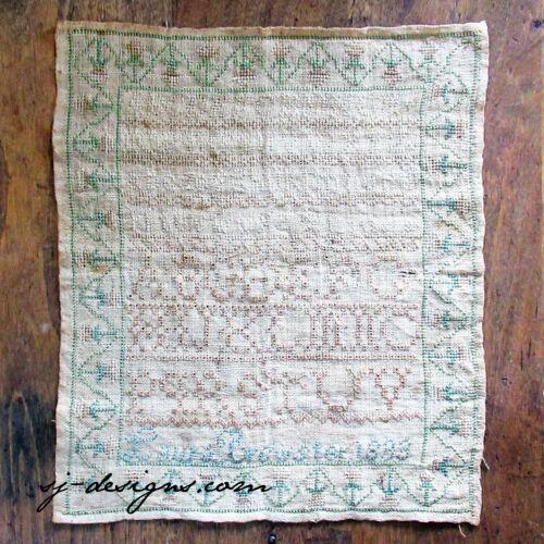 1833 Laura Brewster alphabet schoolgirl sampler Queens stitch eyelets silk thred