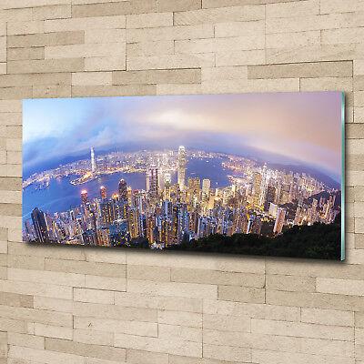 Glas-Bild Wandbilder Druck auf Glas 125x50 Sehenswürdigkeiten Hongkong-Panorama