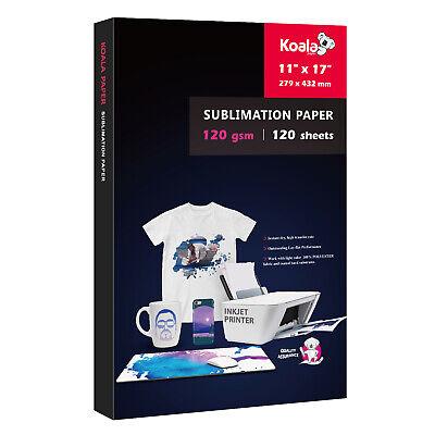 Koala 120 Sheets Sublimation Ink Inkjet Heat Transfer Paper 11x17 120g Epson