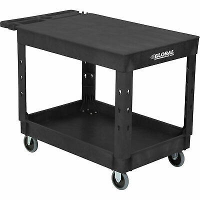Industrial Service Utility Cart Plastic 2 Flat Black Shelf 44 X 25-12 5