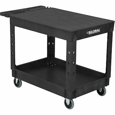 Industrial Service Utility Cart Plastic 2 Flat Black Shelf 44 X 25-12 5