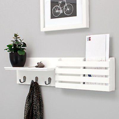 Letter Rack - Coat Rack Mail Holder Wall Display Shelf Metal Hooks Keys Letter Organizer Mount