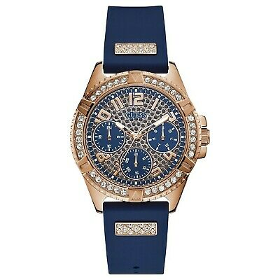 Guess Women's Rose Gold Tone Stainless Steel & Blue Rubber Strap Watch (Guess Rose Gold)