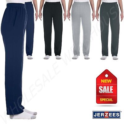 Jerzees Youth 8 oz 50/50 NuBlend Open-Bottom Sweatpants With Pockets (Polyester 8 Ounce Sweatpants)