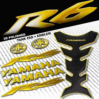 "CHROMED GOLD PRO GRIP FUEL TANK PAD+8"" YAMAHA LOGO+YZF-R6 FAIRING EMBLEM STICKER"