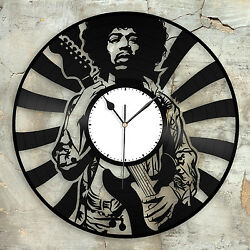 Jimi Hendrix Record Clock Vinyl Wall Art Home Bedroom Decor Decorative Design