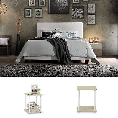 White Queen Size Bedroom Set 3 Piece Furniture Modern Platform Bed Nightstands