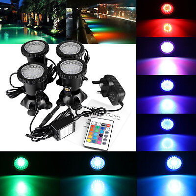 4X Aquarium Fish Tank Pond 36LED RGB SpotLight Garden Fountain Underwater Light