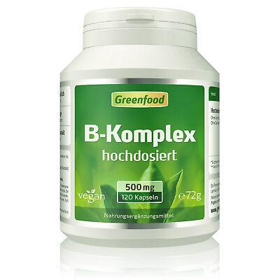 Greenfood B-Komplex 50, hochdosiert, 120 Kapseln - alle Vitamine der B-Gruppe