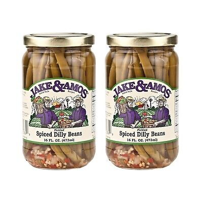 - Jake & Amos Pickled Spiced Dilly Beans - (2) 16 Ounce Jars