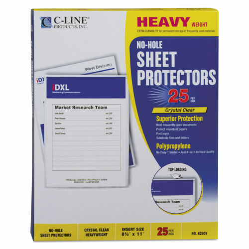 C-Line 62907 Top-Load No-Hole Polypropylene Sheet Protector Heavyweight Clear 25