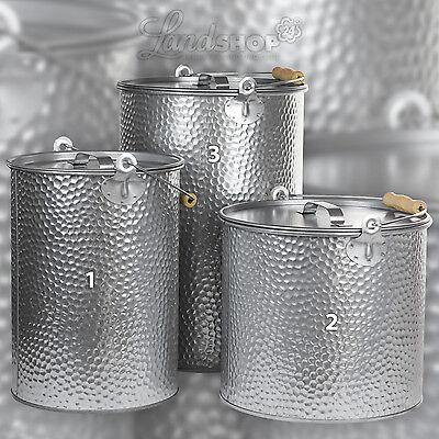 Katzenstreueimer Metalleimer verzinkt gehämmert Industriedesign SILBER