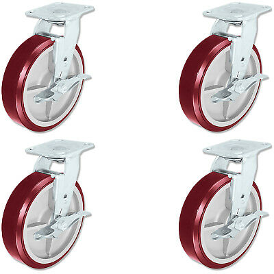 Casterhq - 8 Inch X 2 Inch Poly. Swivel Casters With Brakes 4 Industrial Wheel