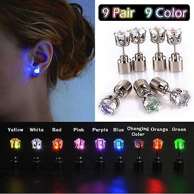 Lot LED Light Up Earrings Change Color Ear Studs Halloween Christmas Xmas