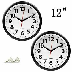 Giftgarden 2 Pack 12 Wall Clock Black Silent Non-Ticking Quartz Analog R... New