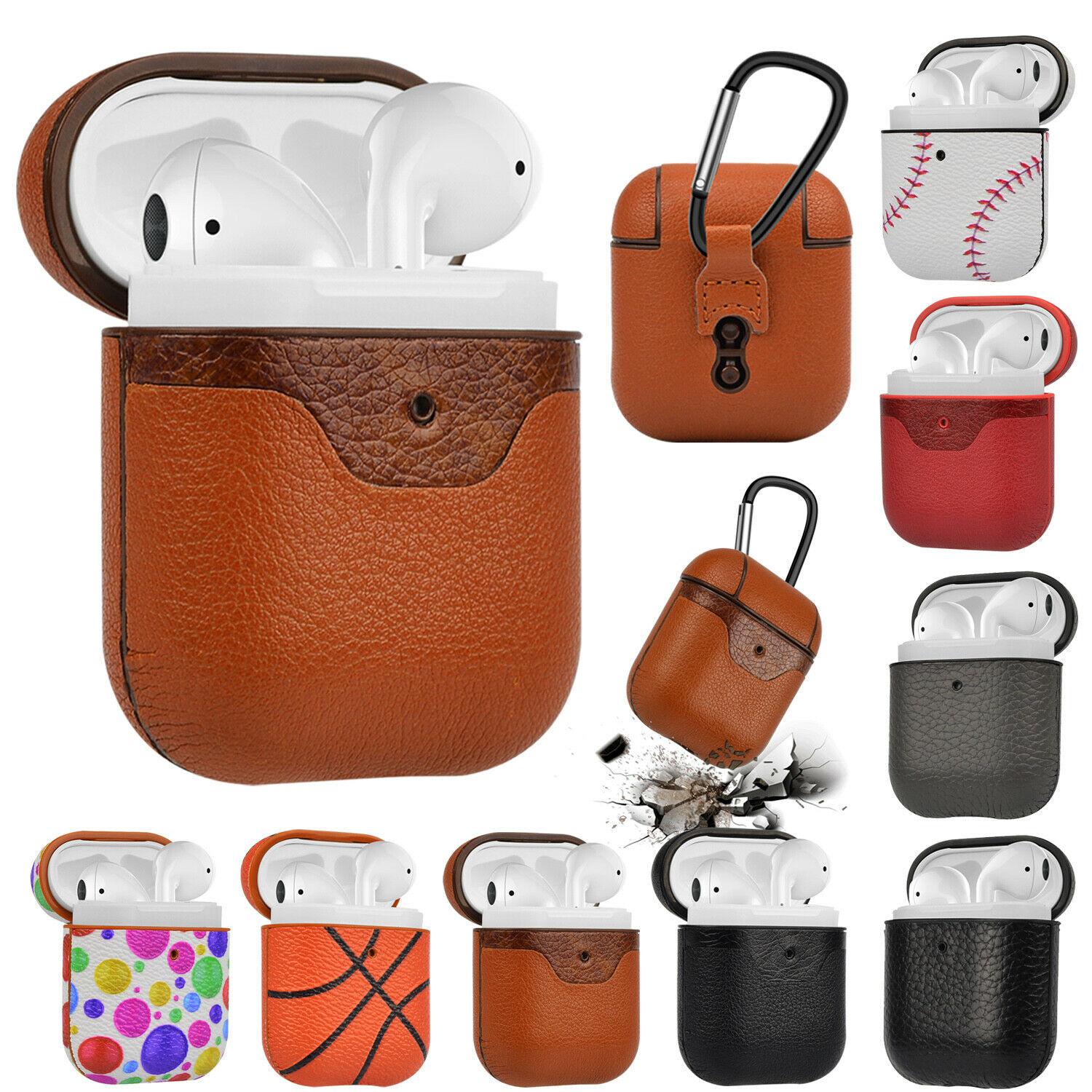 Airpod Leather Case Cover protective Cover for Apple AirPods