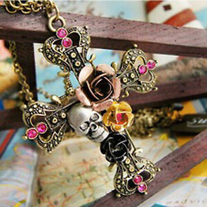 Cross-Necklace-Skull-Rose-Flower-Crystal-Crucifix-Chain-Vintage-Goth-Horror-Gift