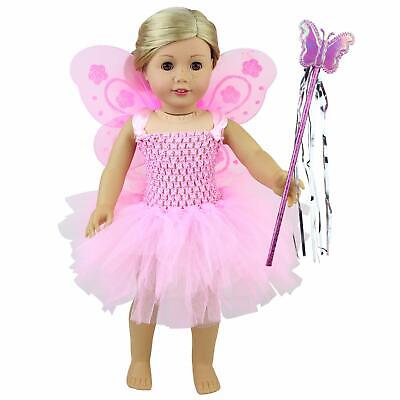 Pink Fairy Doll Dress Angel Wing Magic Wand Outfit Clothes For 18 inch Girl Doll - Angel Outfits For Girls