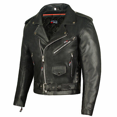 Classic Side Lace Motorcycle Jacket - Men's ICONIC Motorcycle Premium Leather Classic Side Lace Biker Jacket
