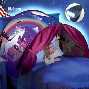 Kids Bed Dream Tents Foldable Outdoor Unicorn Fantasy Baby Led Lights Play Tent