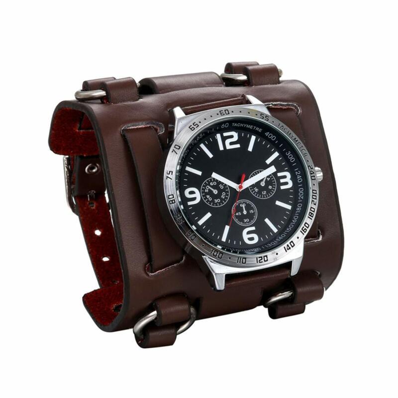 Herren Armbanduhr Analog Quarz 30M Wasserdichte Sportuhr Uhren mit Breit Leder