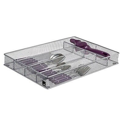 Cutlery Tray 5 Compartments Kitchen Utensil Silverware Organizer Silver