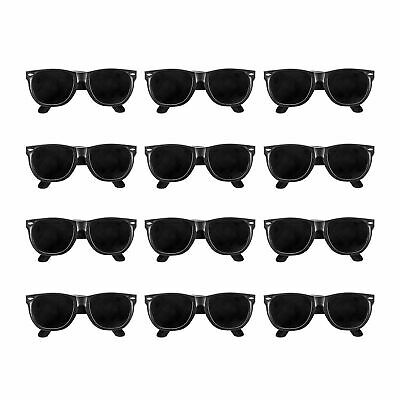 12pk BLACK Sunglasses Photobooth Props Kids Beach Party Favors BULK