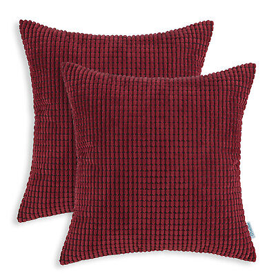 "Set of 2 Burgundy Throw Pillows Covers Shells Corn Soft Corduroy Striped 22""x22"""