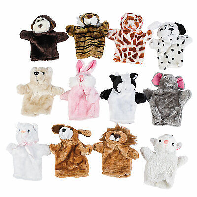 Stuffed Animal Hand Puppets - Toys - 12 Pieces