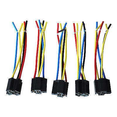 5 Pcs 5 Pin Cable Relay Socket Harness Connector Dc 12v For Car Ts