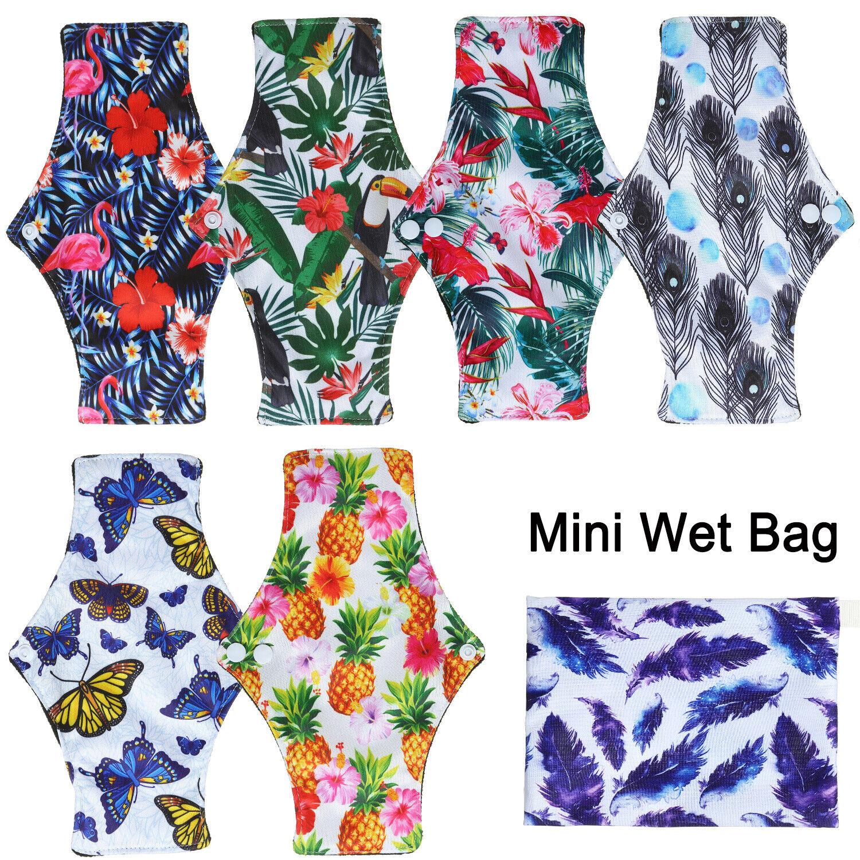 10PC Bamboo Charcoal Menstrual Sanitary Cloth Pads Feminine
