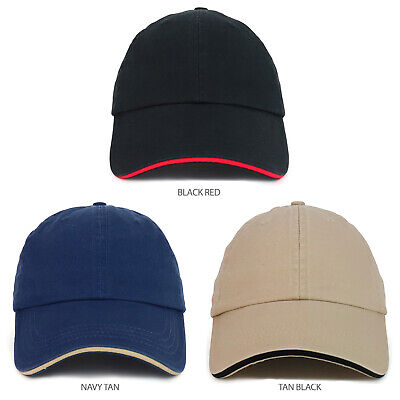 Made in USA Unstructured Cotton Washed Sandwich Bill Baseball Cap - - Washed Sandwich Cap