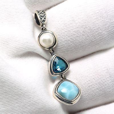 925 Sterling Silver Topaz Natural Dominican Larimar Gemstones Necklace (Natural Larimar Pendant)